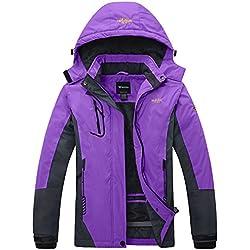 Wantdo Femme Anorak Veste de Ski avec Polaire Coupe-Pluie Coupe-Vent Imperméable Hiver Manteau Sportif Violet X-Large