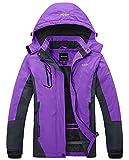 Wantdo Femme Anorak Veste de Ski avec Polaire Coupe-Pluie Coupe-Vent Imperméable Hiver Manteau Sportif Violet Large