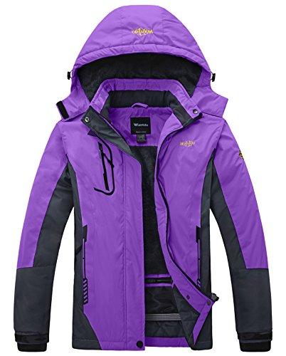Wantdo giacca da sci donna in pile impermeabile antivento viola small