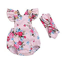 Baby Girls Full Flower Print Floral Ruffle Cross Back Romper Bodysuit with Headband (0-3M, Color 4)