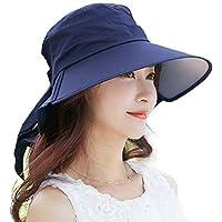 Donna di vibrazione di estate Cappello Ombra cappuccio del tappo di cotone UPF 50+ Sun con collo Cord