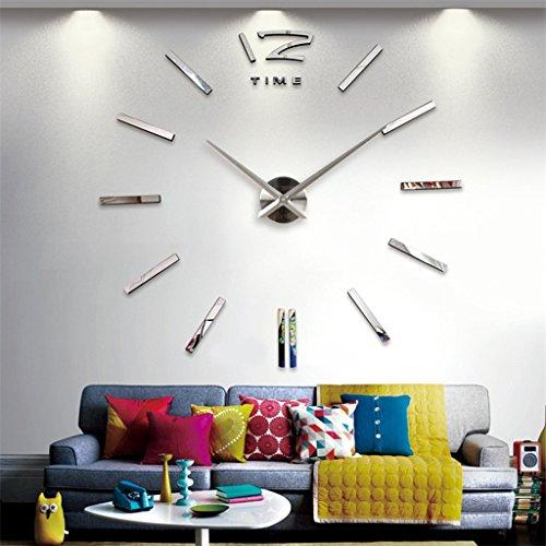 GRH Modische Große Größe 3D Wanduhr Zahlen DIY Aufkleber Vintage Oversize Künstlerische Nadel Rund Uhr Dekoration Dekoration Büro Home Geschenk ( Color : Silver )