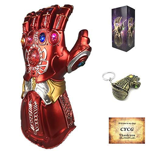 huh, Infinity Thanos Gauntlet mit LED Energy Stones Endgame Latex Handschuh Halloween Cosplay für Erwachsene/Kind (Kind Handschuhe) ()