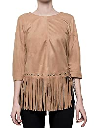 Damen Shirt 3 4 Arm mit Fransen in Wildleder-Optik Indianer Western Stil  braun 1f75b8f4fa
