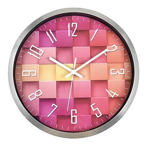 ufengke Rosa Metall Lautlos Wanduhr ohne Tickgeräusche Modern Quarzuhr Deko für Kinderzimmer Wohnzimmer, Durchmesser 30cm