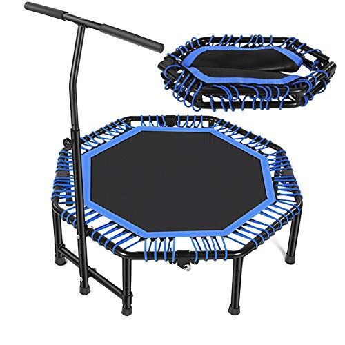Chenhs trampolino giardino bambini adulti pieghevole maniglia regolabile in altezza muto acciaio galvanizzato, 8 tubi di acciaio 4 colori (color : blue, size : 121x135cm)