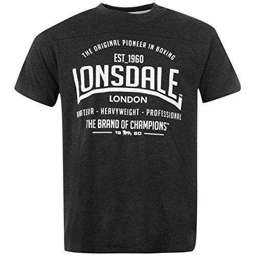 Lonsdale Herren Box T-Shirt Kurzarm Rundhals Freizeit Tee Top Sportshirt Grau XXXX Large