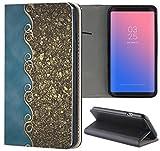 Samsung Galaxy S6 Hülle Premium Smart Einseitig Flipcover Hülle Samsung S6 Flip Case Handyhülle Samsung S6 Motiv (554 Abstract Blau Gold Antik)