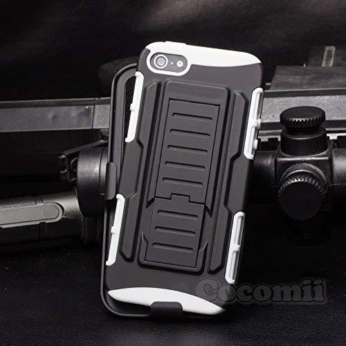 Cocomii Robot Armor iPhone SE/5S/5 Hülle [Strapazierfähig] Gürtelclip Ständer Stoßfest Gehäuse [Militärisch Verteidiger] Ganzkörper Case Schutzhülle for Apple iPhone SE/5S/5 (R.White)