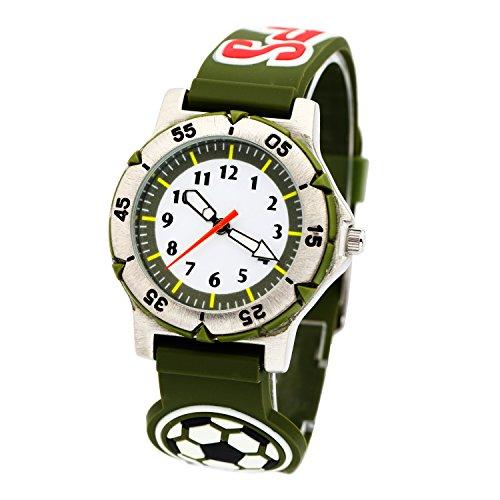 (Jian Ya Na Kinder Teenager-Armbanduhr-Quarz-Uhr 3D Football Gummi-Armband für Studenten Runde Analog Armbanduhr Promotion Geschenke für junge Kinder im Alte Armeegrün)