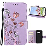 Galaxy S6 Flip Case, Samsung Galaxy S6 Wallet Case, Rosa Schleife PU Leather Butterfly Flower Embossed Floral Flip Magnetic Closure Phone Case Protective Shell Case Cover for for Samsung Galaxy S6 S VI G9200 G920A G920T (5.1
