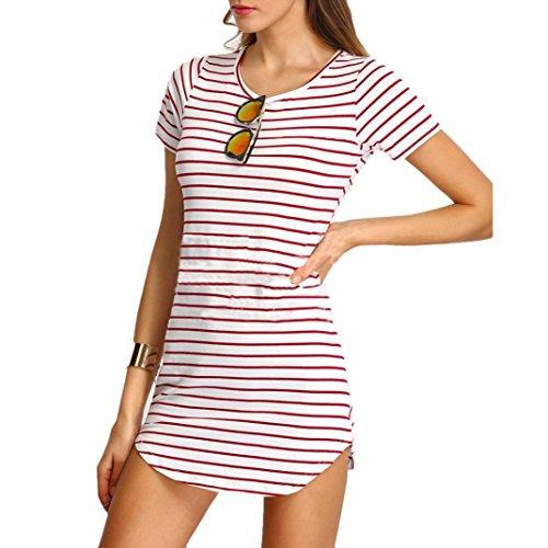 Sannysis Damen Streifen Kurzarm Gestreift Lose T-Shirt Kleid (Pink, s) -
