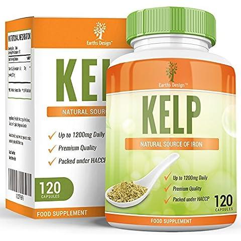 Earths Design Alga Kelp, ricca di iodio, vitamine e minerali, regola il funzionamento della tiroide e il metabolismo, integratore ultra potente, 120 compresse da 600 mg