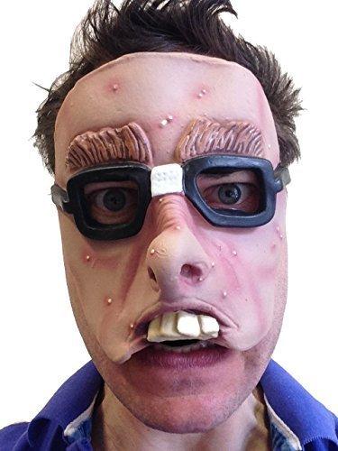 Spotty Teenager Nerd mit Brille Maske aus Latex Film fx Qualität Fancy Kleid - Nerd Kostüm Für Teenager