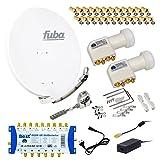 FUBA 6 TEILNEHMER DIGITAL SAT ANLAGE DAA850W + 0,1dB LNB FULL HDTV 4K + PMSE Multischalter 9/6 + 30 Vergoldete F-Stecker Gratis dazu