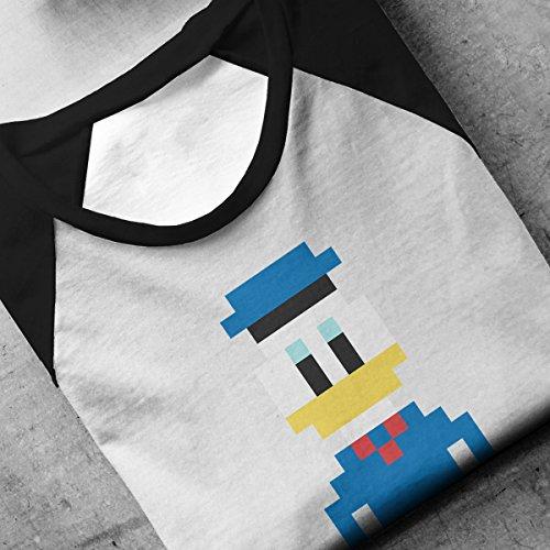 Donald Duck Pixel Character Men's Baseball Long Sleeved T-Shirt White/Black