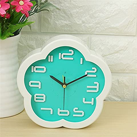 EsportsMJJ Creative Small Frisch Flower Clock Lazy Bed Small Zimmer Schreibtisch Wecker Simple Digital Electronic Clock-Blau