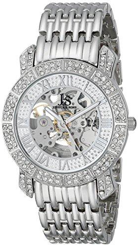 Joshua & Sons uomo js-44-ss argento orologio automatico con esposizione quadrante e bracciale in argento