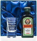 Engraved 1oz Shot Glass & Jagermeister in Silk Gift Box For Dad/Best Man/Usher/Wedding/18th/21st/30th Birthday Gift