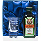 Engraved 1oz Shot Glass & Jagermeister in Silk Gift Box For Dad/Best Man/Usher/Wedding/18th/21st/30th Birthday Gift
