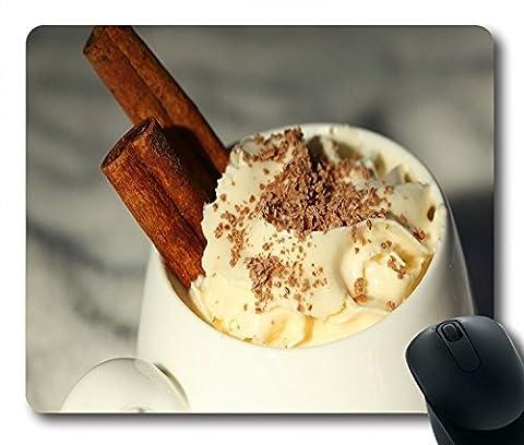 Nourriture et boisson Cappuccino Chocolat Cannelle Crème Chantilly en caoutchouc antidérapant Gaming Mouse Pad Taille 22,9cm (220mm) x 17,8cm (180mm) x