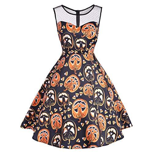 URSING Kleider Damen Vintage O-Ausschnitt Drucken Ärmellos Halloween Kostüm Spitzenkleid Partykleid Rockabilly Swing Kleider Cocktailkleid Festlich Ballkleid Faltenrock (Orange,L)