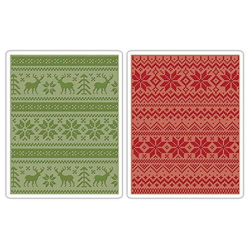 For Sale Sizzix Holiday Knit Texture Fades Embossing Folders Set, Pack of 2 on Line