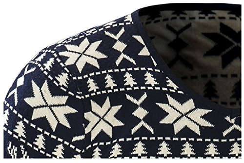BOMOVO Herren Rundhals Weihnachten Strickpullover mit Rentier Retro Sweater Slim Fit dark blau