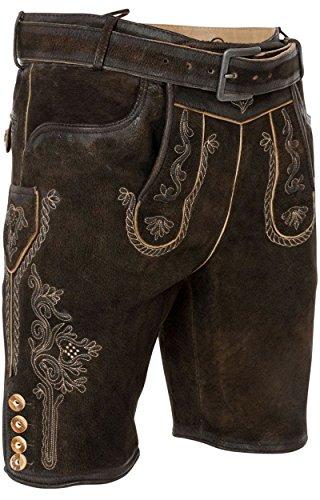MarJo Trachten kurze Lederhose Schorsch incl. Gürtel in verschiedenen Ausführungen, Größe:56;Farbe:bosto - glossy