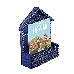 999Store Hand Painted Dark Blue Hut Wooden Wall Hanging Magazine Stand Document Holder Magazine Racks Paper Organizer Storage Box