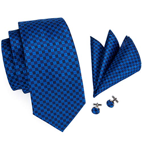 Blue Plaid - Hi-Tie Mens Navy Blue Plaid