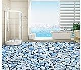 Chlwx 3D Wallpaper Custom 3D-Bodenbeläge Wandgemälde Hintergrundbild Das Blaue Mittelmeer Kiesel 3D, Pvc-Tapeten Home Decoration 200Cmx150Cm