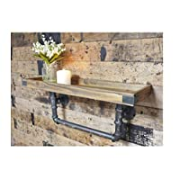 Urban Industrial Style Chunky Wood Wall Shelf with Iron Pipe Wall Bracket Width 60cm