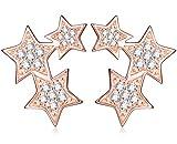Unendlich U Fashion Drei Sterne Damen Ohrstecker 925 Sterling Silber Zirkonia Sterne Stecker Ohrringe Ohrschmuck, Rosegold