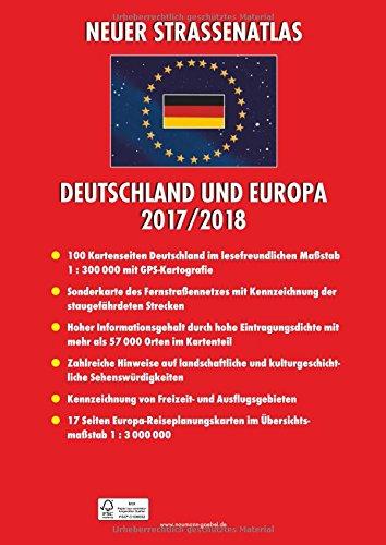 Neuer Straßenatlas Deutschland/Europa 2017/2018: Deutschland 1 : 300 000 / Europa 1 : 3 000 000: Alle Infos bei Amazon