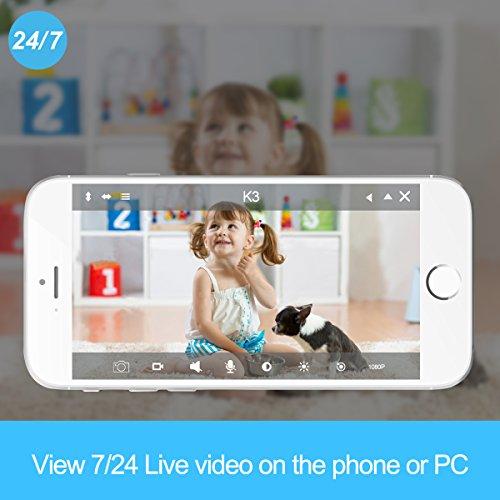 Wansview IP Kamera 720P WiFi Drahtlos Sicherheit Kamera für Baby/ Alter/ Haustier/ Kinderfrau Monitor mit Nachtsicht K2 (Schwarz) - 2