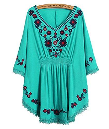 HAOKTY Damen Mexikanischen Ethnischen Floral Gestickten V - Ausschnitt Bluse Boho Mini Kleid (Blau) (Kleid Stiefel)