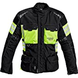 Reusch Motorradjacke Motorradschutzjacke Touren Leder-/Textiljacke 1.0, Wasserdichte Sturmhaube, Flip-Back-System, Rücken-, Schulter und Ellbogenprotektor, Reflektoren, Neongelb XXL