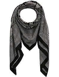 Lorenzo Cana Italian Scarf Pashmina Silk Cotton Shawl 43'' x 43'' Paisley Houndstooth Black Light Grey 8911711