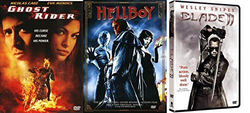 What Does The Spawn Of The Devil, A Vampire Who Hunts Vampires, And A Ghost Who's Sold His Soul Have In Common? Ghost Rider + Hell Boy + Blade 2 Triple Feature Guillermo Del Toro DVD Pack