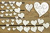 36 Stk Holz Herzen weiß Hochzeit Tischschmuck 2cm & 4cm Streuteile Holzherzen Holz Herz Dekoherzen Streuherzen Tischdekoration Streudeko Basteln Liebe Valentinstag Muttertag Tischdeko Holzherz