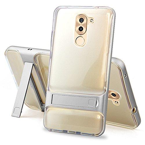 Huawei Honor 6X Cover - SMTR Qualità premium Guscio duro staffa Stealth 2 in 1 TPU+PC Custodia per Huawei Honor 6X - trasparente Argento
