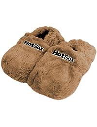 Original Hot Sox Wärmehausschuhe Größe L 41-45 / Schoko - aufheizbare Hausschuhe Leinsamenfüllung heizbare Körnerpantoffel für Mikrowelle / Ofen Plüsch Mikrowellenhausschuhe
