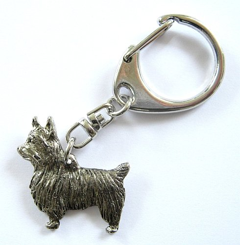 Australian Silky Terrier Keyring Silver Finish