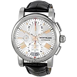 Montblanc Men's 44mm Chronograph Automatic Black Calfskin Date Watch 105856