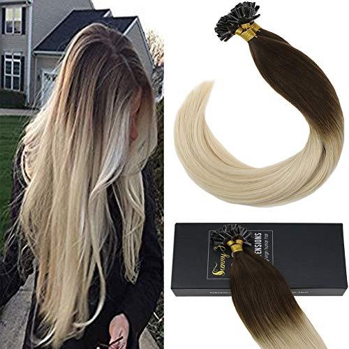 Sunny ombre capelli extension keratina veri ombre castano scuro al bionda platino 35cm 50 grammo -100% remy umani capelli cheratina capelli lissci