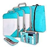 Kompression Kleidertaschen 6-teilig, DIMJ Packtaschen mit Schuhbeutel Reisepass Tasche...