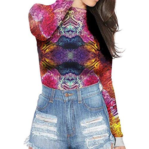 Maglietta a maniche lunghe del manicotto delle donne di stirata delle donne Highdas Colore 8