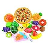 SIPLIV Kunststoff schneiden Spielzeug vorgeben Essen gesetzt, schneiden Obst und Gemüse Spielzeug mit Pizza Spielset frühe Entwicklung und pädagogisches Spielzeug für Baby Kinder Kinder-24 Stk.
