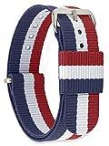 MOMENTO Bracelet de Montre Homme et Femme Nato Nylon Tissu avec Boucle en Acier Inoxydable en Argent et Tissu en Bleu Blanc Rouge 18mm